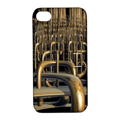Fractal Image Of Copper Pipes Apple Iphone 4/4s Hardshell Case With Stand by Amaryn4rt