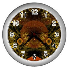 Fractal Yellow Design On Black Wall Clocks (silver)  by Amaryn4rt