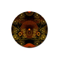 Fractal Yellow Design On Black Rubber Coaster (round)  by Amaryn4rt