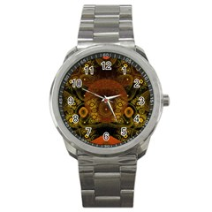 Fractal Yellow Design On Black Sport Metal Watch by Amaryn4rt