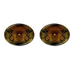 Fractal Yellow Design On Black Cufflinks (oval) by Amaryn4rt