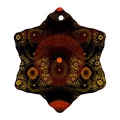 Fractal Yellow Design On Black Ornament (snowflake) by Amaryn4rt