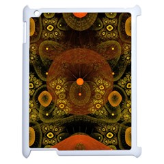 Fractal Yellow Design On Black Apple Ipad 2 Case (white) by Amaryn4rt