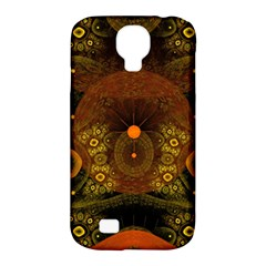 Fractal Yellow Design On Black Samsung Galaxy S4 Classic Hardshell Case (pc+silicone) by Amaryn4rt