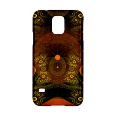 Fractal Yellow Design On Black Samsung Galaxy S5 Hardshell Case  by Amaryn4rt