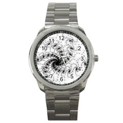 Fractal Black Spiral On White Sport Metal Watch by Amaryn4rt