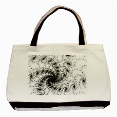 Fractal Black Spiral On White Basic Tote Bag by Amaryn4rt