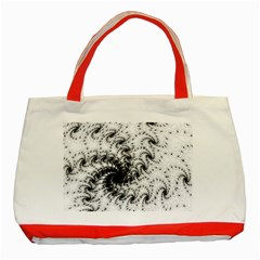 Fractal Black Spiral On White Classic Tote Bag (red) by Amaryn4rt