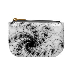 Fractal Black Spiral On White Mini Coin Purses by Amaryn4rt