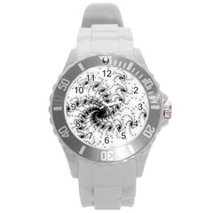 Fractal Black Spiral On White Round Plastic Sport Watch (l) by Amaryn4rt