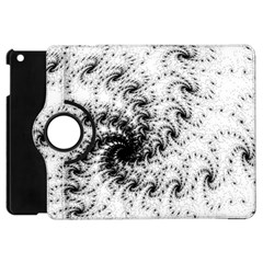Fractal Black Spiral On White Apple Ipad Mini Flip 360 Case by Amaryn4rt