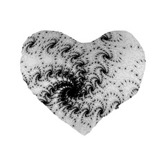 Fractal Black Spiral On White Standard 16  Premium Flano Heart Shape Cushions by Amaryn4rt