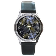 Fractal Wallpaper With Blue Flowers Round Metal Watch