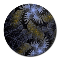 Fractal Wallpaper With Blue Flowers Round Mousepads