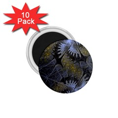 Fractal Wallpaper With Blue Flowers 1.75  Magnets (10 pack)