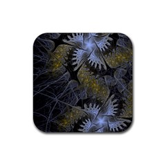 Fractal Wallpaper With Blue Flowers Rubber Coaster (Square)