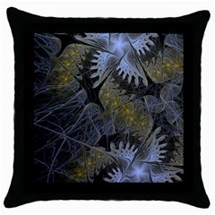 Fractal Wallpaper With Blue Flowers Throw Pillow Case (Black)