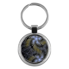 Fractal Wallpaper With Blue Flowers Key Chains (Round)