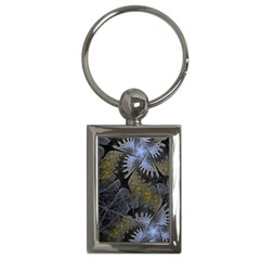 Fractal Wallpaper With Blue Flowers Key Chains (Rectangle)