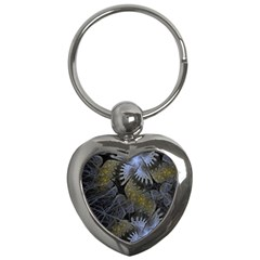 Fractal Wallpaper With Blue Flowers Key Chains (Heart)