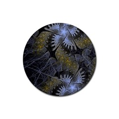 Fractal Wallpaper With Blue Flowers Rubber Coaster (Round)