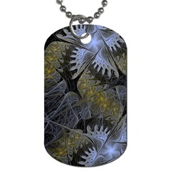 Fractal Wallpaper With Blue Flowers Dog Tag (One Side)