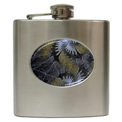 Fractal Wallpaper With Blue Flowers Hip Flask (6 Oz) by Amaryn4rt