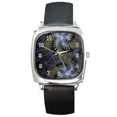 Fractal Wallpaper With Blue Flowers Square Metal Watch