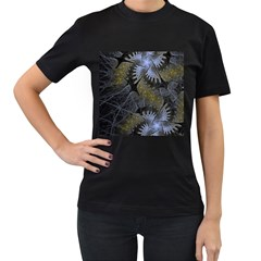 Fractal Wallpaper With Blue Flowers Women s T-Shirt (Black) (Two Sided)