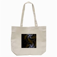 Fractal Wallpaper With Blue Flowers Tote Bag (Cream)