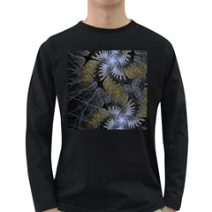 Fractal Wallpaper With Blue Flowers Long Sleeve Dark T-Shirts