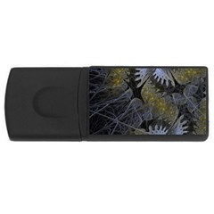 Fractal Wallpaper With Blue Flowers USB Flash Drive Rectangular (4 GB)