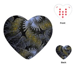 Fractal Wallpaper With Blue Flowers Playing Cards (Heart)