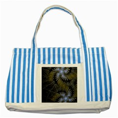 Fractal Wallpaper With Blue Flowers Striped Blue Tote Bag