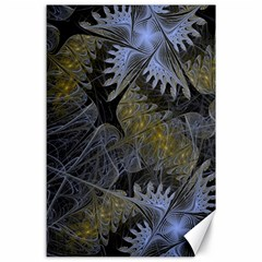 Fractal Wallpaper With Blue Flowers Canvas 24  x 36