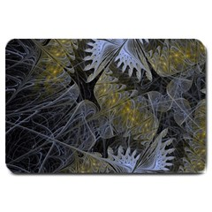 Fractal Wallpaper With Blue Flowers Large Doormat