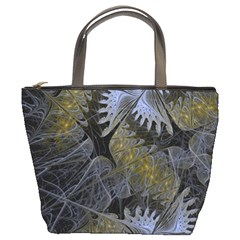 Fractal Wallpaper With Blue Flowers Bucket Bags