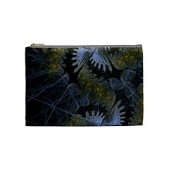 Fractal Wallpaper With Blue Flowers Cosmetic Bag (Medium)