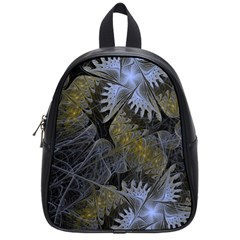 Fractal Wallpaper With Blue Flowers School Bags (Small)