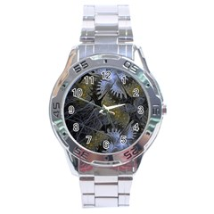 Fractal Wallpaper With Blue Flowers Stainless Steel Analogue Watch