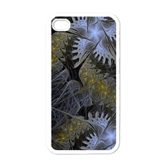 Fractal Wallpaper With Blue Flowers Apple iPhone 4 Case (White)