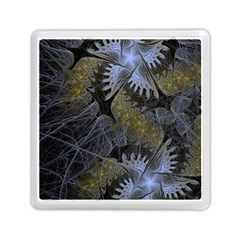 Fractal Wallpaper With Blue Flowers Memory Card Reader (Square)