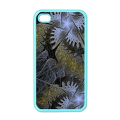 Fractal Wallpaper With Blue Flowers Apple iPhone 4 Case (Color)