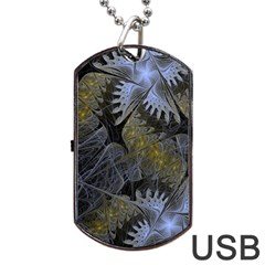 Fractal Wallpaper With Blue Flowers Dog Tag USB Flash (Two Sides)