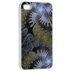 Fractal Wallpaper With Blue Flowers Apple iPhone 4/4s Seamless Case (White)