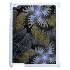 Fractal Wallpaper With Blue Flowers Apple iPad 2 Case (White)
