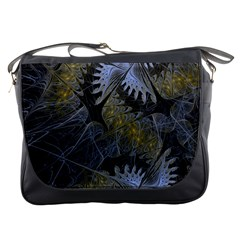 Fractal Wallpaper With Blue Flowers Messenger Bags