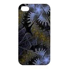 Fractal Wallpaper With Blue Flowers Apple iPhone 4/4S Premium Hardshell Case
