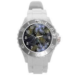 Fractal Wallpaper With Blue Flowers Round Plastic Sport Watch (l) by Amaryn4rt