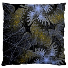 Fractal Wallpaper With Blue Flowers Large Cushion Case (One Side)